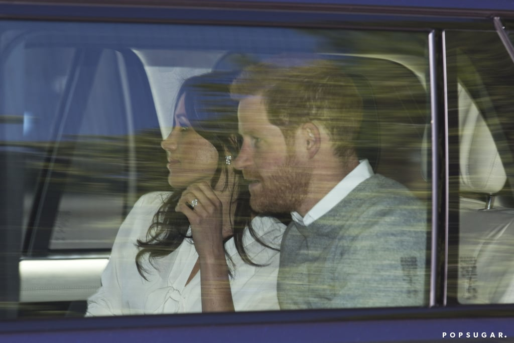 Prince Harry and Meghan Markle were spotted arriving at Windsor Castle on Thursday, just days before the couple is set to tie the knot at St George's Chapel on May 19. Prince William and Kate Middleton also arrived for what appeared to be a dress rehearsal for Harry and Meghan's big day. The photos came just hours after Meghan released a statement confirming that her father, Thomas Markle, would not be attending the wedding due to health concerns.  Earlier in the week, Thomas told TMZ that he was undergoing heart surgery. Many are speculating that Meghan's mom, Doria Ragland, who was not spotted at the presumed rehearsal, will walk her daughter down the aisle in Thomas's place. Read on to see more photos of the soon-to-be in-laws at Windsor and get details on Meghan's look and Kate's floral dress, then keep up with all our coverage of the royal wedding here. Related: Grab a Crumpet and a Cup of Tea — Here's Where to Watch the Royal Wedding!