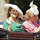 In April 2018, Eugenie and Sophie rode together in an open carriage to Trooping the Colour.