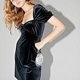 UO Cassandra Velvet Puff-Sleeve Minidress