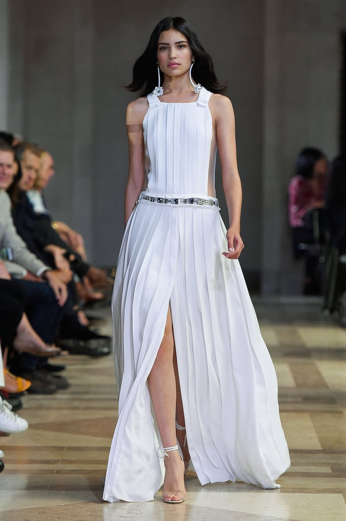 herrera carolina spring summer week york pleated trend rtw pleats dresses long runway mode ete slit popsugar parades trends livingly