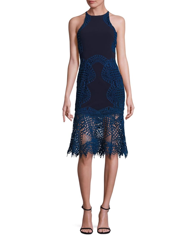Jonathan Simkhai Lace Overlay Fit and Flare Silk Dress ($895)