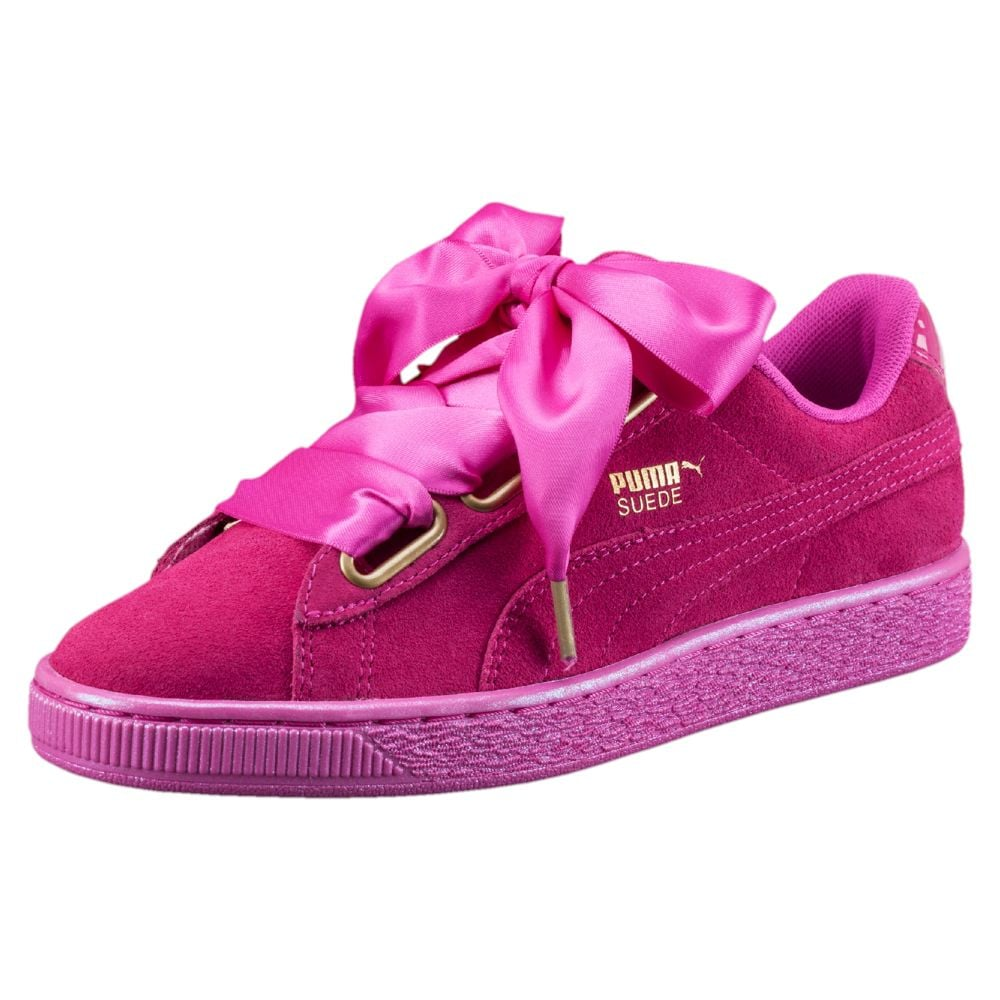Embrace a bold magenta shade with Puma's Suede Heart Satin Sneakers ($80)