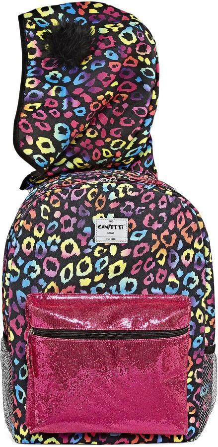 Confetti Rainbow Leopard Hooded Backpack