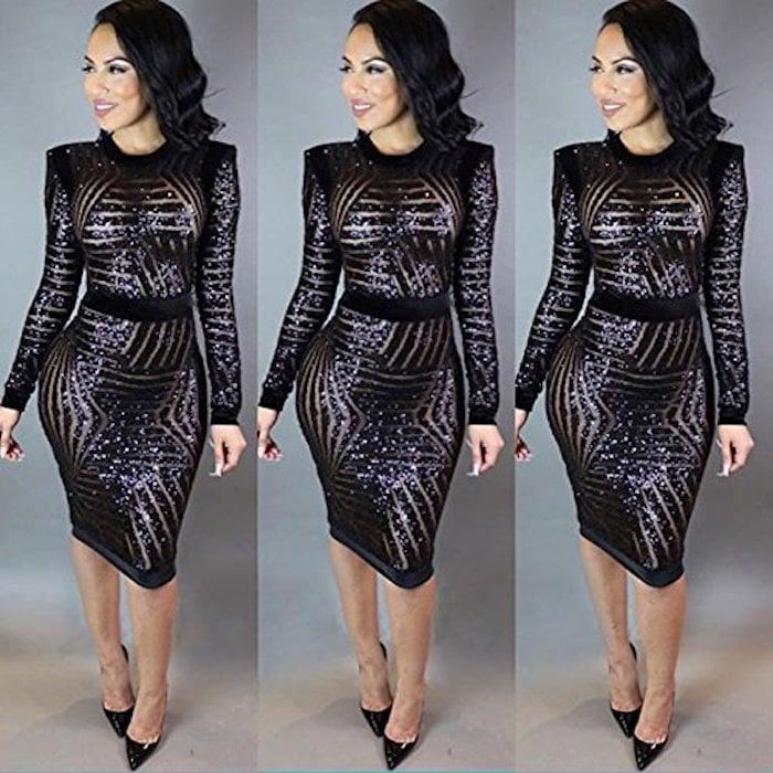 Kearia Black Sequin Scoop-Neck Long-Sleeve Dress | Amazon Party ...