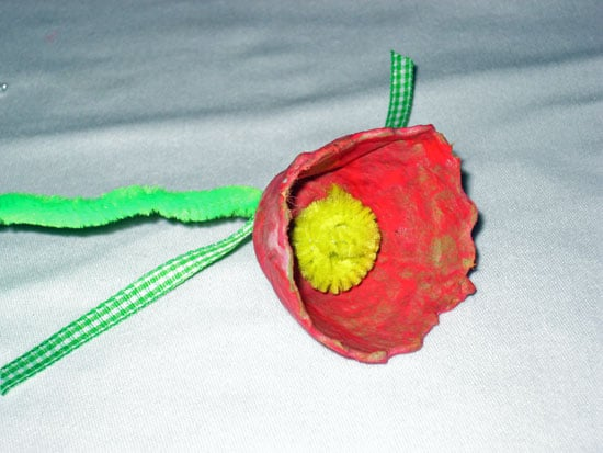Flower After Adding the Spiraled Yellow Pipecleaner