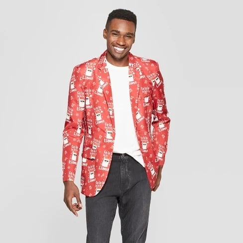 Suitmeister Men's Ugly Christmas Fala Llama Costume Jacket