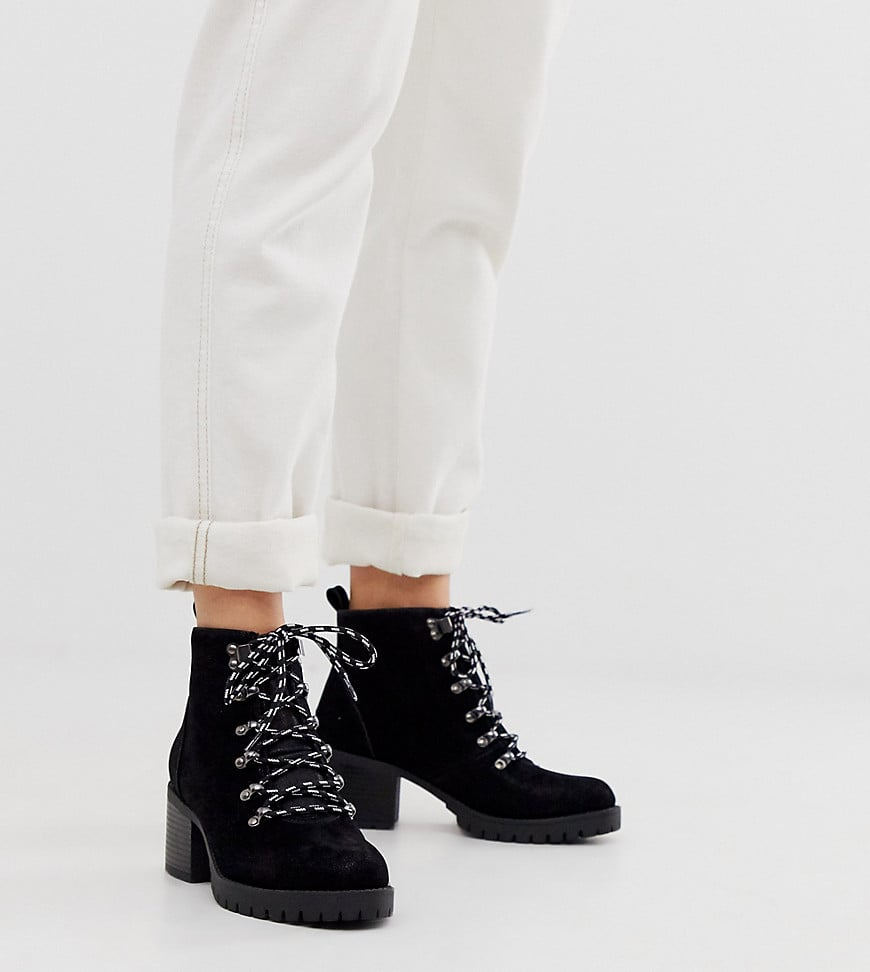 New Look Wide Fit Heeled Hiker Boots