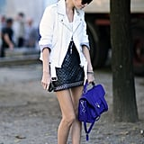 A pop of cobalt blue on her Proenza made this quilted leather combo even cooler.