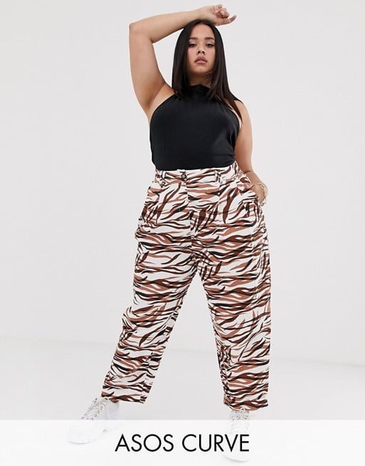 ASOS Design Curve Ovoid Pleat-Front Peg in Tiger Print