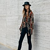 Fringe Jacket Outfit Idea: Top Hat + Slouch Boots