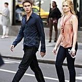 Chace Crawford and Kaylee DeFer crossed the street in NYC.