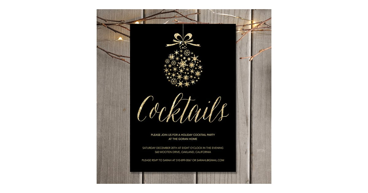 Gold Holiday Cocktail Party Invitation Printable Holiday Party