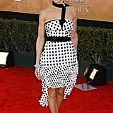 Fun times in polka-dot Lacroix and red satin sandals at the SAG Awards in '05.