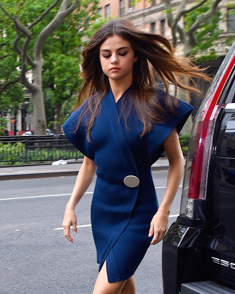 Selena Gomez Navy Wrap Dress | POPSUGAR Fashion Photo 1