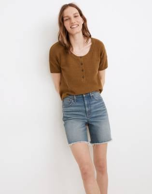 Madewell Henley Sweater Tee in Olive