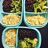 Quinoa, seasoned beans, and steamed broccoli.