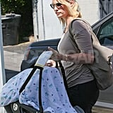 January Jones carried her new baby, Xander Jones.
