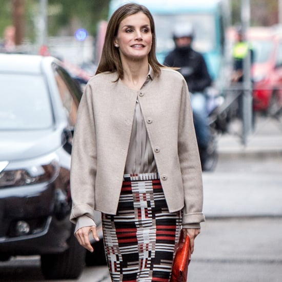 Queen Letizia's Graphic Pencil Skirt October 2016
