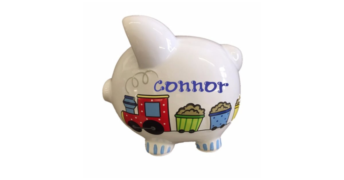 Personalized choo choo train piggy bank with handpainted name personalized kids 39 holiday gifts - Train piggy banks ...