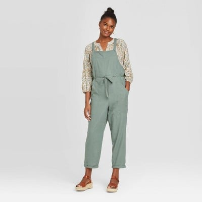 Sleeveless Square Neck Belted Overalls