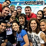 Shaun White and Bar Refaeli celebrated the men's 4 x 200 relay win with Michael Phelps's family.  Source: Twitter user shaun_white