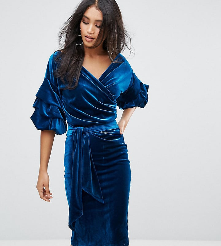 fb55c4e460 Lioness Velvet Off Shoulder Midi Dress With Ruched Sleeve Detail ...