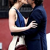 Keira Knightley and Mark Ruffalo kissing while shooting a scene.