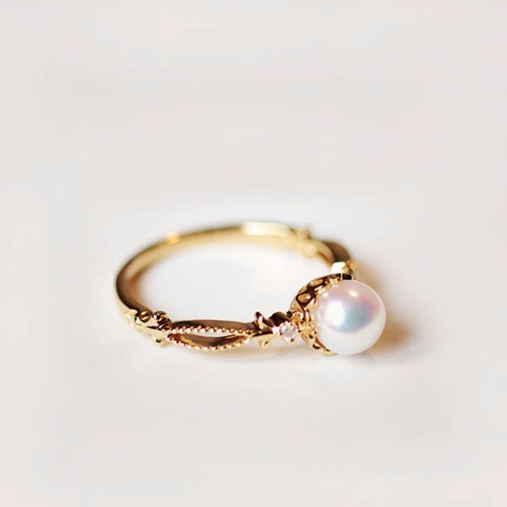 Pearl engagement rings from etsy popsugar fashion for Pearl engagement ring with wedding band