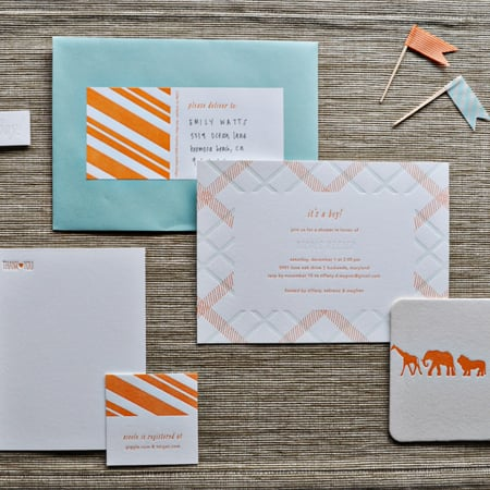 Orange-and-Blue Baby Shower Invitations