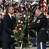 President Barack Obama participated in a ceremony at the Tomb of the Unknowns at Arlington National Cemetery in Arlington, VA.