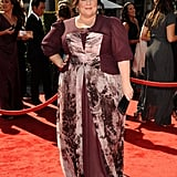 This is quite the romantic ensemble. All eyes were on the star when she wore this marsala-colored gown to the 2012 Primetime Creative Arts Emmy Awards.