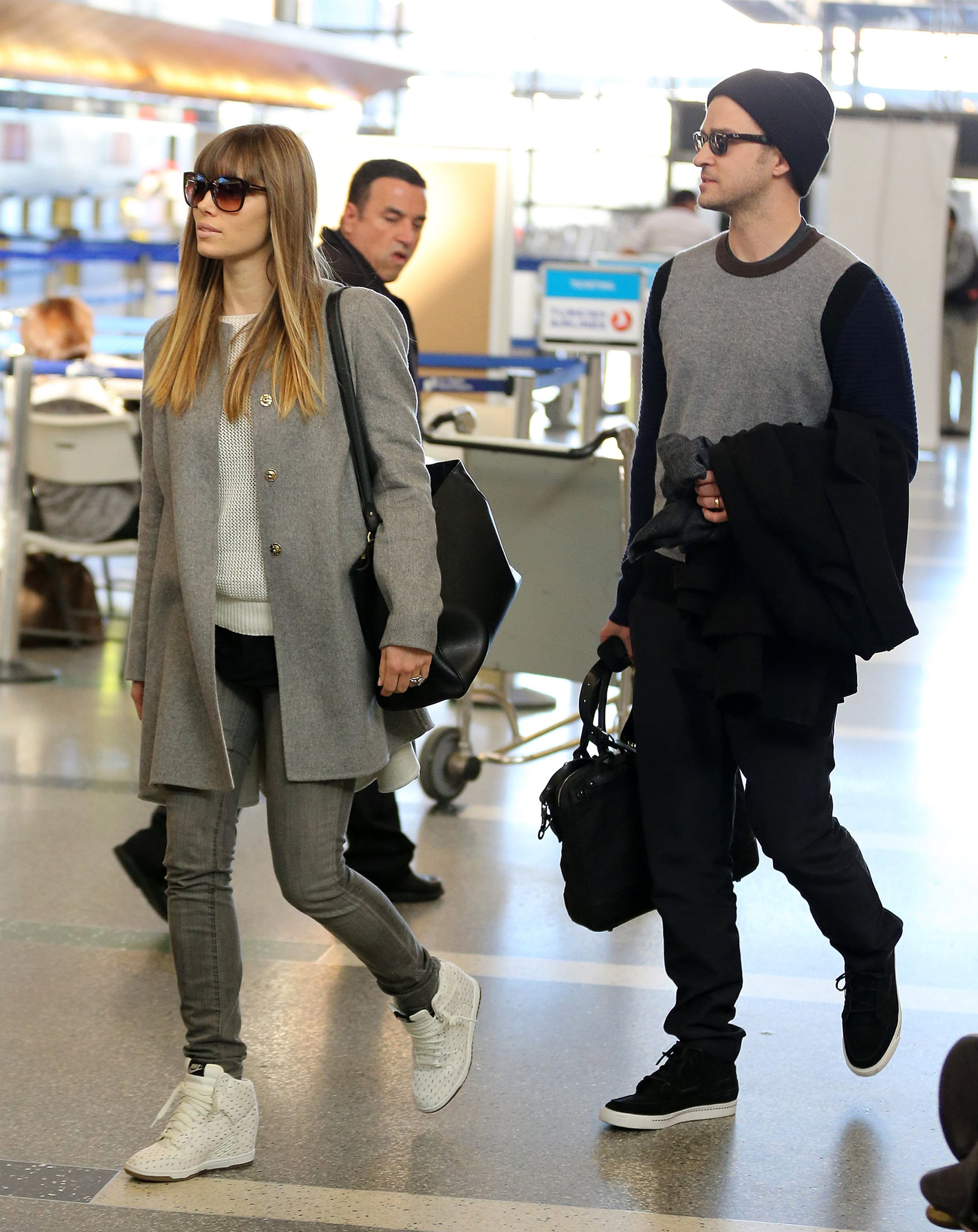 Justin and Jessica Jet Out of LAX Together