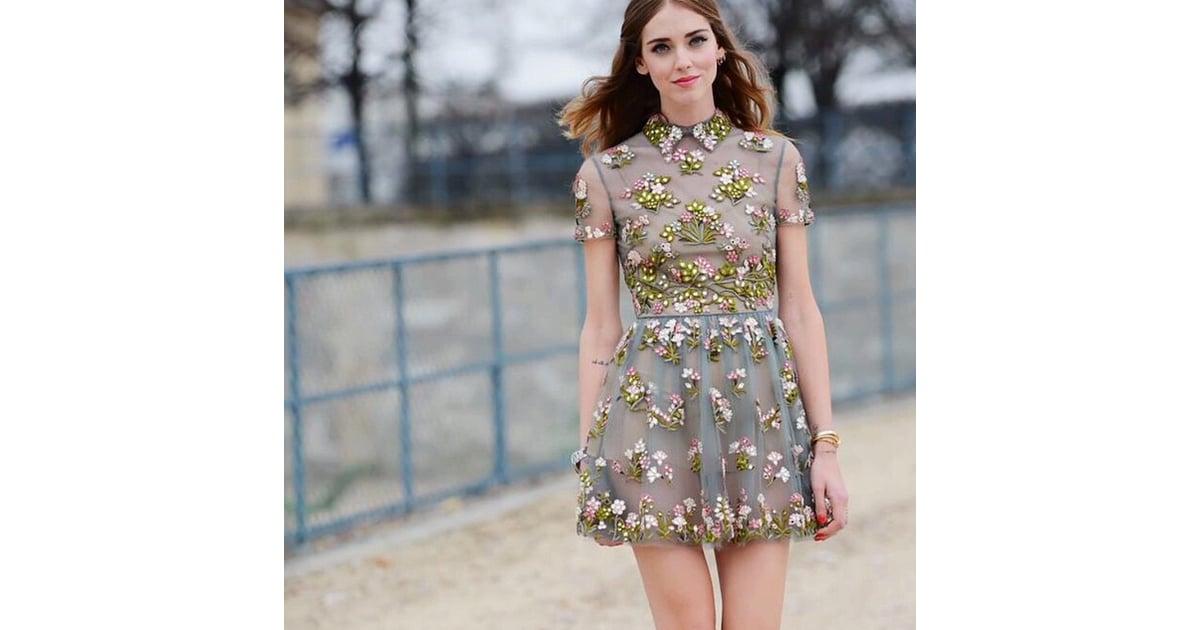 Chiara ferragni let the floral appliqué on her collared minidress