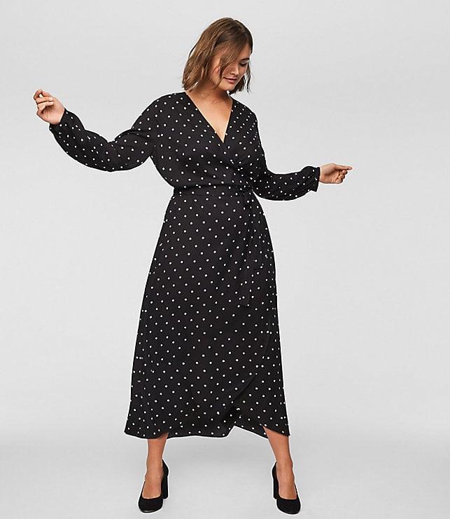 LOFT Polka-Dot Wrap Midi Dress