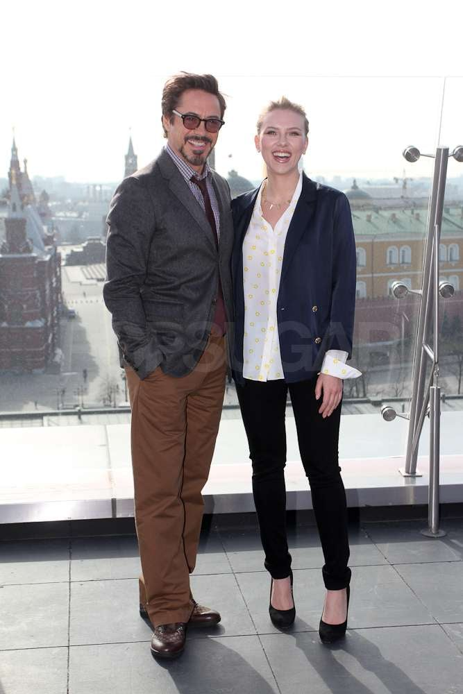 Scarlett Johansson and Robert Downey Jr. hung out together while promoting The Avengers in Russia.