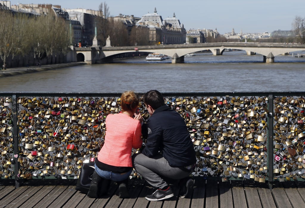 A couple locked down their love in Paris.