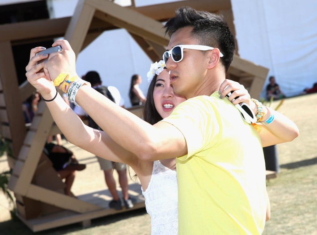 A couple took a selfie at Indio's Coachella.