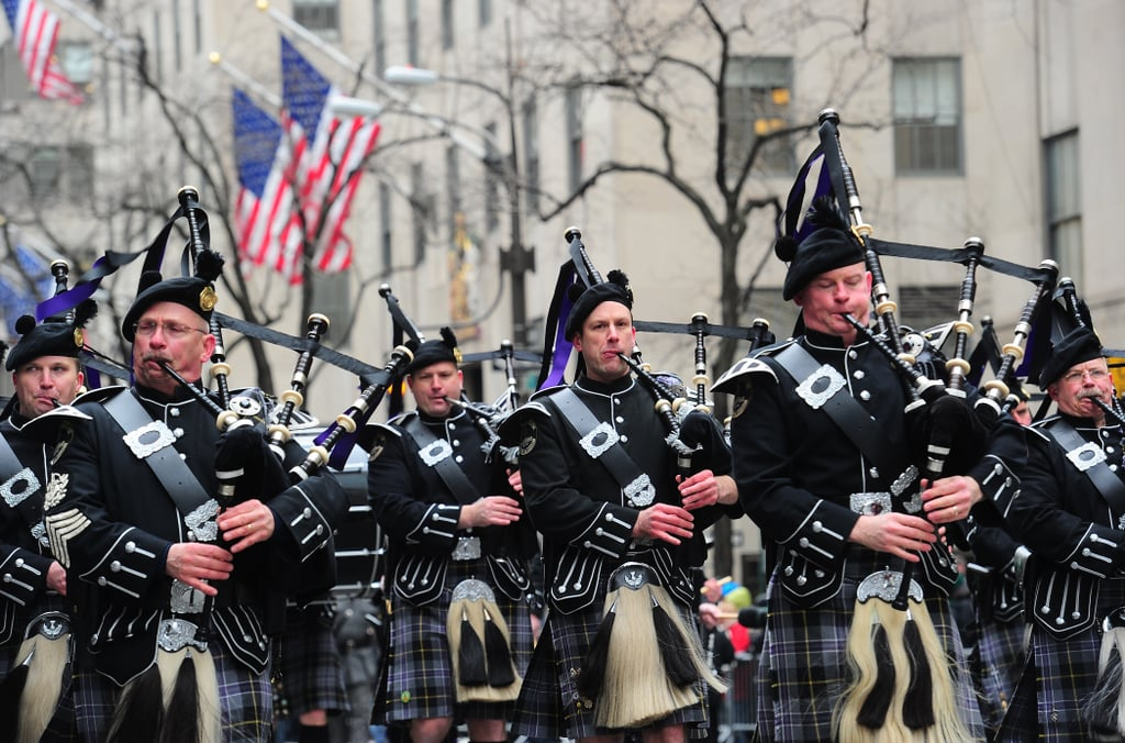 Bagpipers performed during the NYC parade.