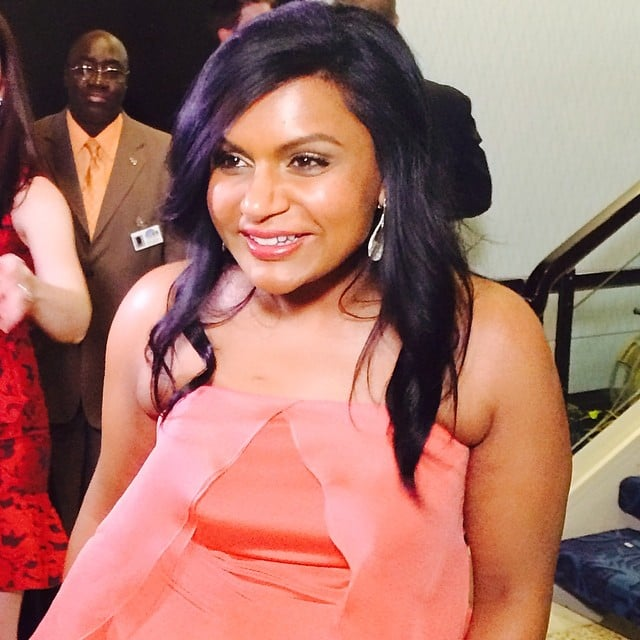 Mindy Kaling beamed in pink.