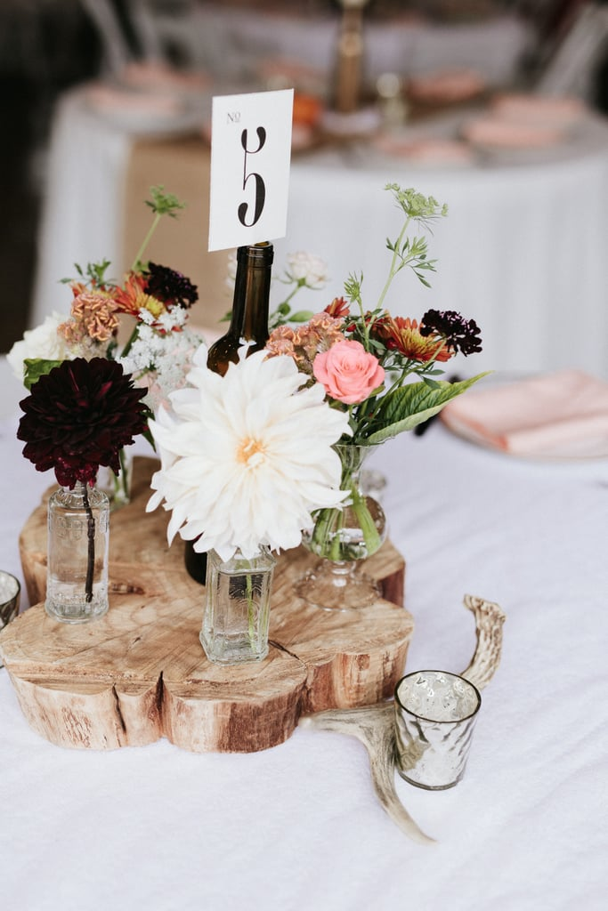 A wood slice can function as a unique centerpiece.