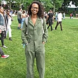 A practical jumpsuit paired with trendy Adidas sneakers were a combination that had this festivalgoer ready for anything.
