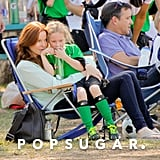 Marcia Cross went out to her twins' soccer game in LA.