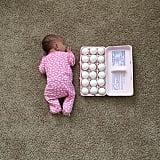 Baby vs. eggs.