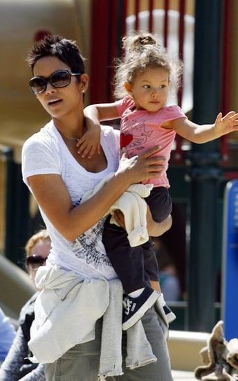 Halle Berry plays with her daughter Nahla at Coldwater Park in Beverly Hills