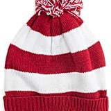 Add a red and white beanie ($24).