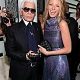 Blake Lively got together with Karl Lagerfeld at the Chanel boutique opening during New York Fashion Week in September 2009.