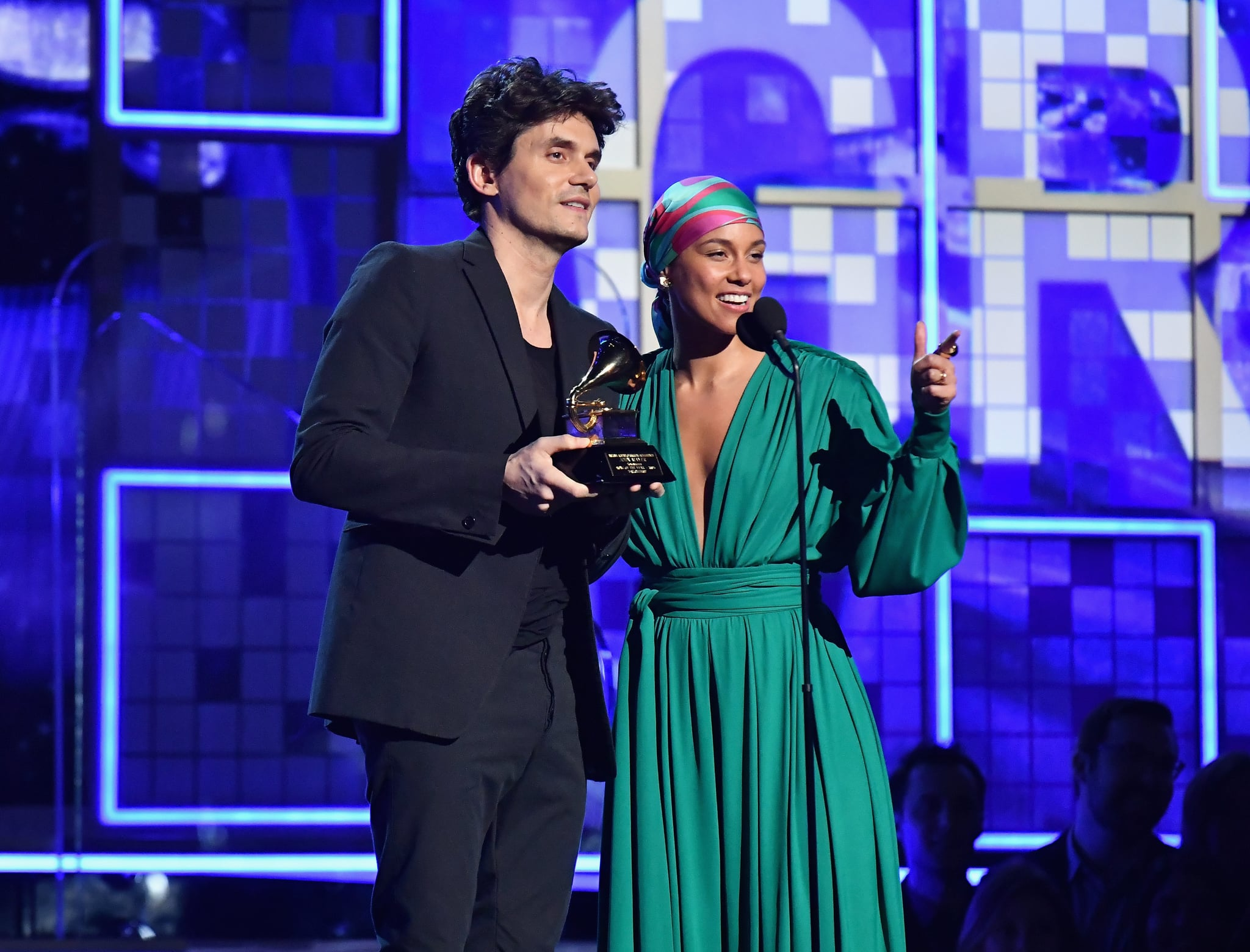 LOS ANGELES, CA - FEBRUARY 10:  John Mayer (L) and Alicia Keys speak onstage during the 61st Annual GRAMMY Awards at Staples Center on February 10, 2019 in Los Angeles, California.  (Photo by Jeff Kravitz/FilmMagic)