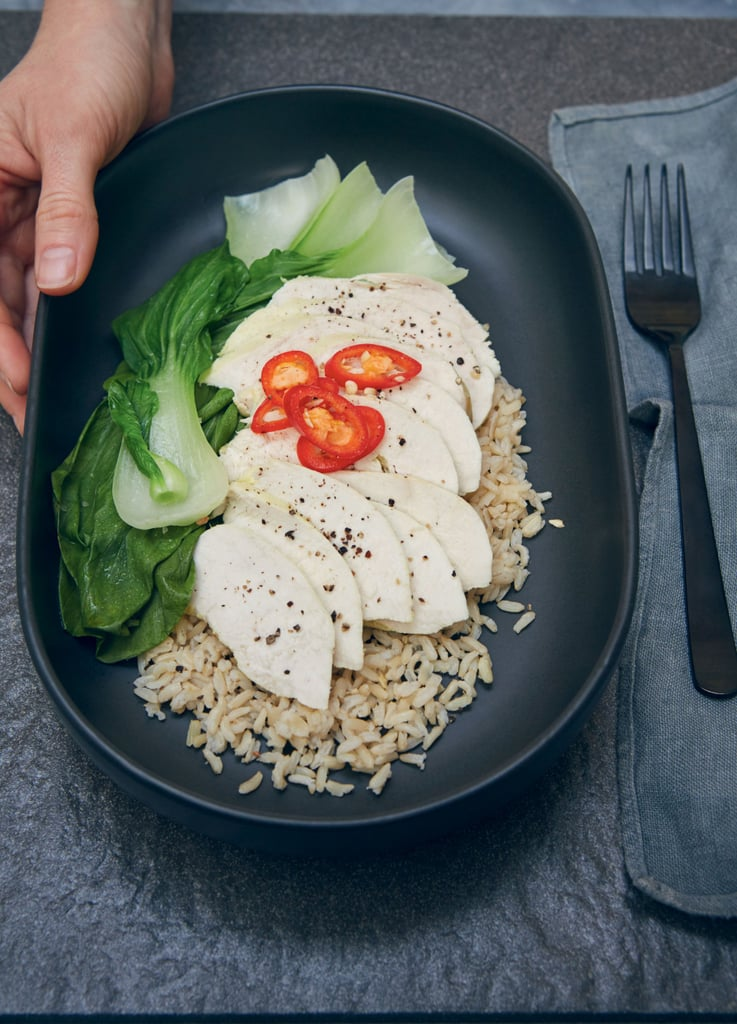 Turmeric Poached Chicken With Brown Rice or Quinoa