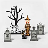 Mini Mantle Witch and Gravestone Halloween Accessory Set
