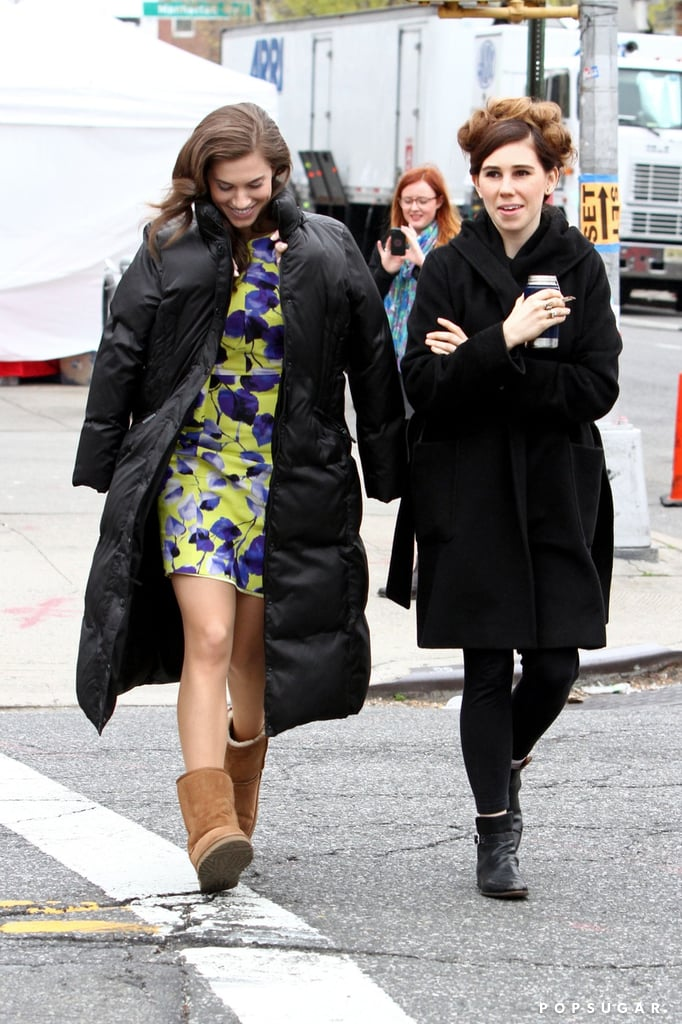 Yesterday, Allison Williams chatted with Zosia Mamet on set.